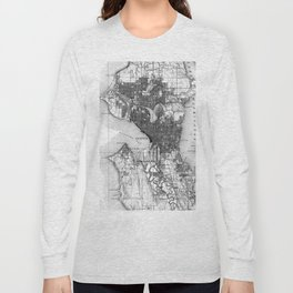 Vintage Map of Seattle Washington (1908) BW Long Sleeve T-shirt