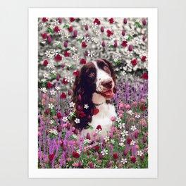 Lady in Flowers - Brittany Spaniel Dog Art Print