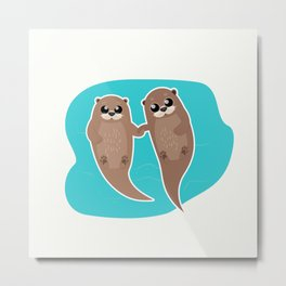 Cute Otters - Cuddle Party Metal Print