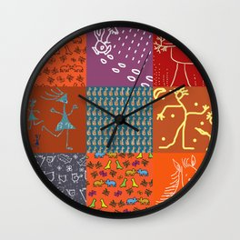 Patchwork from FishCard in orange, violet and brown colors Wall Clock