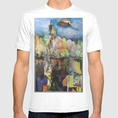 Central Park in Autumn MEDIUM White Mens Fitted Tee