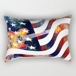 Country Music Guitar And American Flag By Annie Zeno  Rectangular Pillow