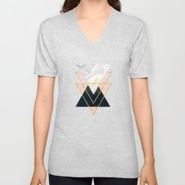 Elegant geometric and confetti golden design Unisex V-Neck