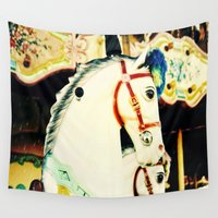 carousel Wall Tapestries featuring Carousel Horse by Eye Shutter to Think Photography