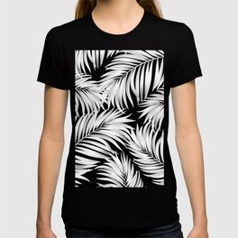 Palm Tree Fronds White on Black Hawaii Tropical Décor T-shirt