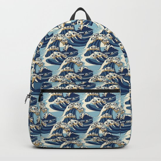 The Great Wave of Pug Pattern Backpack
