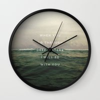 pocketfuel Wall Clocks featuring DEEP WATERS by Pocket Fuel