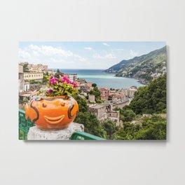 Amalfi Coast Landscape Vietri Village, Italy Metal Print