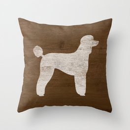 White Standard Poodle Silhouette(s) Throw Pillow
