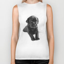 Black labrador puppy Biker Tank