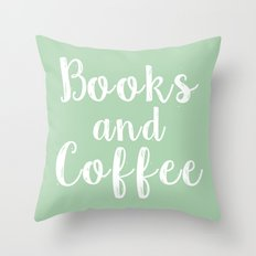 Books and Coffee - Green Throw Pillow