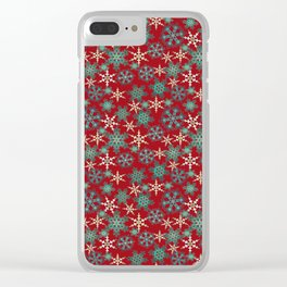 Red blue abstract Christmas decor . Snowflakes . Clear iPhone Case