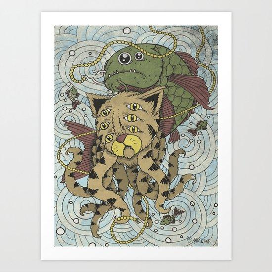 Mr Octopus & The One That Got Away Art Print