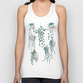 hanging plant in seashell Unisex Tank Top