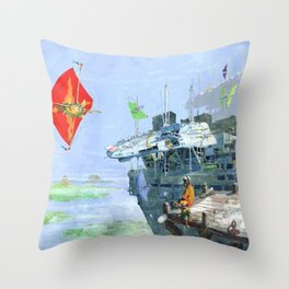 Sky Yacht Race Throw Pillow