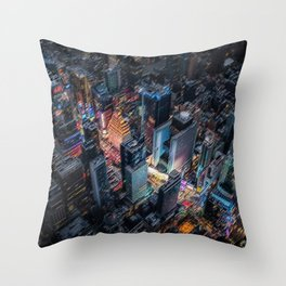 Colorful Times Square Aerial View - New York City Landscape Painting by Jeanpaul Ferro Throw Pillow