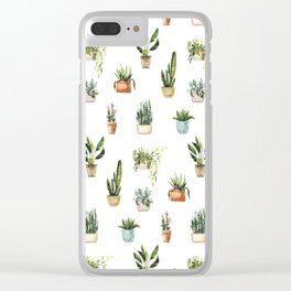 Hand painted teal green orange watercolor tropical floral cactus Clear iPhone Case