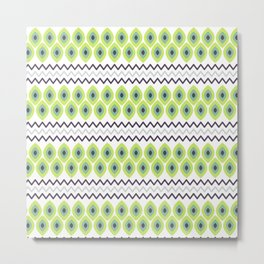Abstract avocado green black geometric zigzag stripes pattern Metal Print