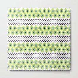 Abstract avocado green black geometric zigzag stripes pattern Metal Print