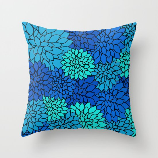 Throw Pillow Design Patterns : Floral Pattern - Shades of Blue Flower Patterns Throw Pillow by Cudge Art Society6