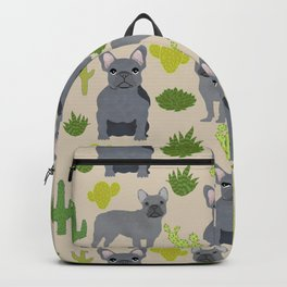 Frenchie french bulldog grey cactus desert southwest dog breed by pet friendly Backpack
