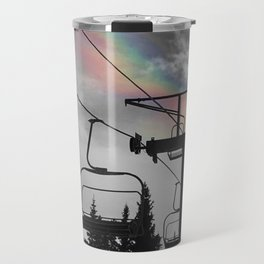 4 Seat Chair Lift Rainbow Sky B&W Travel Mug