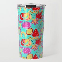 Brushstrokes Abstract - aqua brights Travel Mug