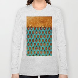 Copper Metal Foil and Aqua Mermaid Scales -Beautiful abstract glitter pattern Long Sleeve T-shirt