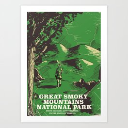 Great Smoky Mountains National Park vintage travel poster Art Print