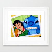 lilo and stitch Framed Art Prints featuring Lilo & Stitch Selfie by Olivia Iman