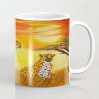tigers Mugs featuring Tigers Sun by ArtSchool