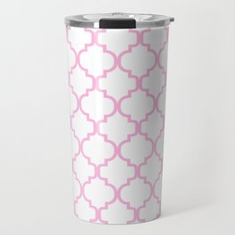 Moroccan Trellis (Pink & White Pattern) Travel Mug