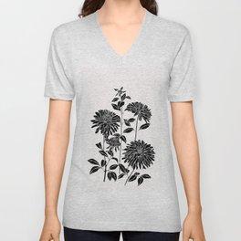 Black chrysanthemum silhouette illustration - Lara Ink Unisex V-Neck