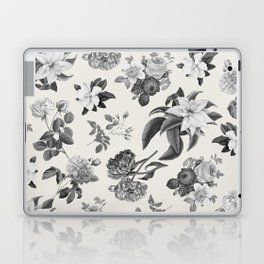 Vintage flowers on cream blackground Laptop & iPad Skin