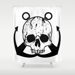 Anchored Jolly Roger Shower Curtain