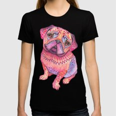 Pugberry MEDIUM Black Womens Fitted Tee