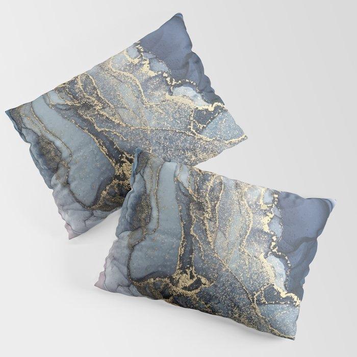 Blush, Payne's Gray and Gold Metallic Abstract Kissenbezug