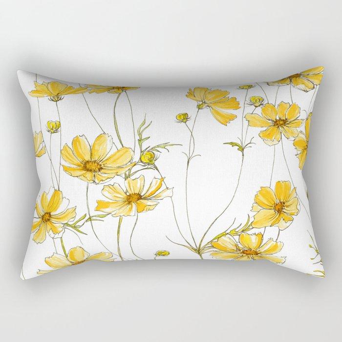 Yellow Cosmos Flowers Rechteckiges Kissen
