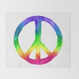 Rainbow Watercolor Peace Sign Throw Blanket