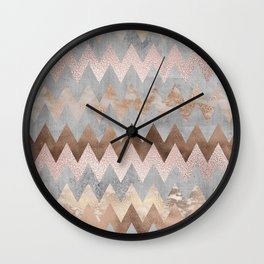 Rose Gold Chevron Glitter Glamour Marble Gem Wall Clock