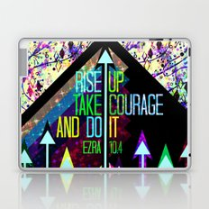RISE UP TAKE COURAGE AND DO IT Colorful Geometric Floral Abstract Painting Christian Bible Scripture Laptop & iPad Skin