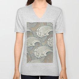 Ocean Waves Pattern Ancient Japan Art Unisex V-Neck