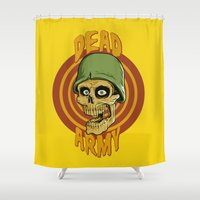 army Shower Curtains featuring Dead Army by Leandro Dexter