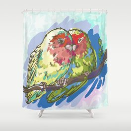 Expressive Parrots Lovebirds Shower Curtain