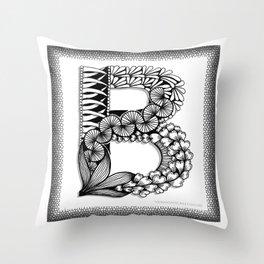 Zentangle B Monogram Alphabet Initial Throw Pillow