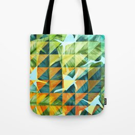 Abstract Geometric Tropical Banana Leaves Pattern Tote Bag