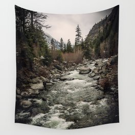 Winter Begins - River Mountain Nature Photography Wall Tapestry