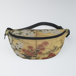 White Red Chrysanthemums Floral Japanese Gold Screen Fanny Pack