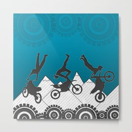 Motocross Mountain Stunt Sports Design Metal Print