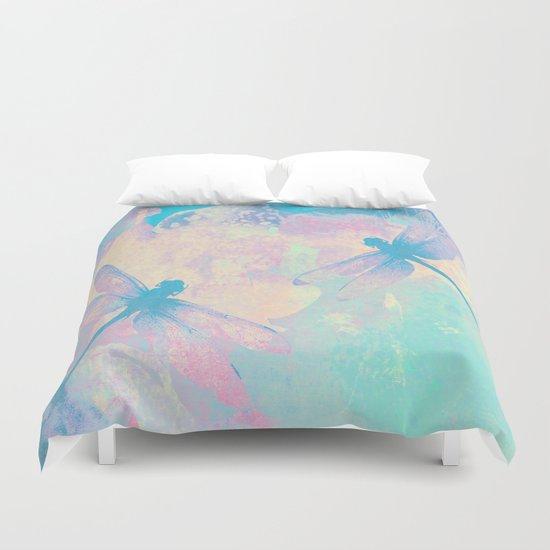 Blue Painting Dragonflies Duvet Cover